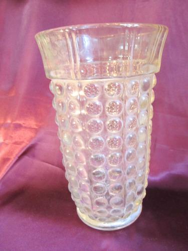 el arcon antiguo florero de vidrio prensado tallado 24cm 804