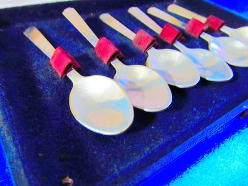 el arcon antiguo juego 6 cucharas baño plata en caja  4500