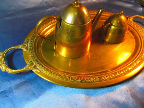 el arcon antiguo juego de servir 3 piezas bronce 33054