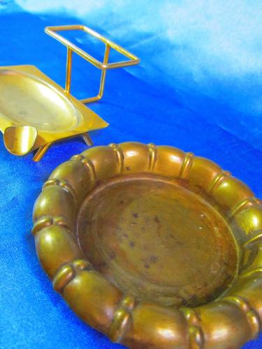 el arcon antiguo par de ceniceros de chapa de bronce 14056