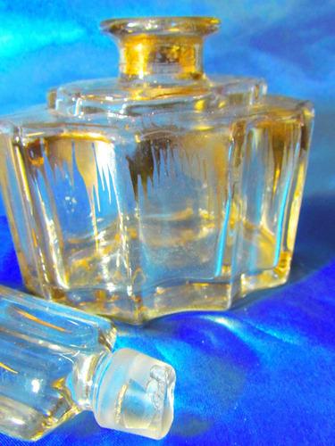 el arcon antiguo perfumero de cristal decorado oro 19cm 626