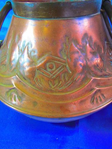 el arcon antiguo portamaceta de cobre trabajado a mano 13052