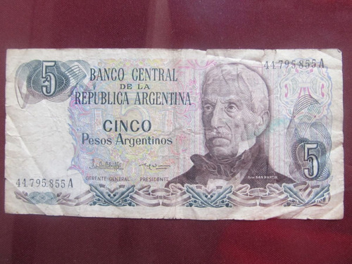 el arcon billete argentino peso argentino de 5 pesos 383