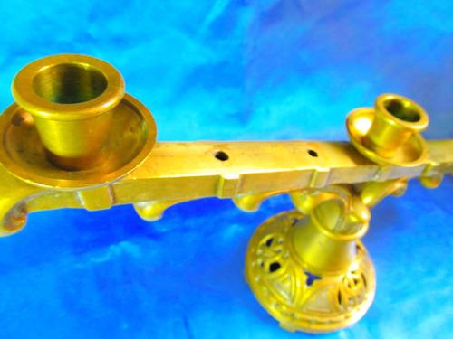 el arcon candelabro de bronce de 3 velas muy pesado 21050