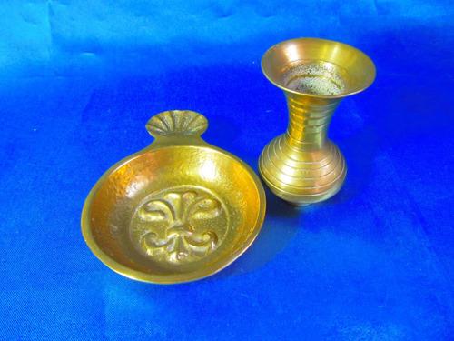 el arcon cenicero y jarron de bronce labrado a mano 13080