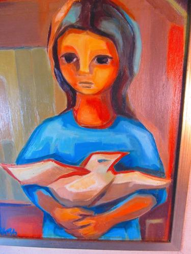 el arcon cuadro al oleo firmado enmarcado 37,5x32,5cm  5011