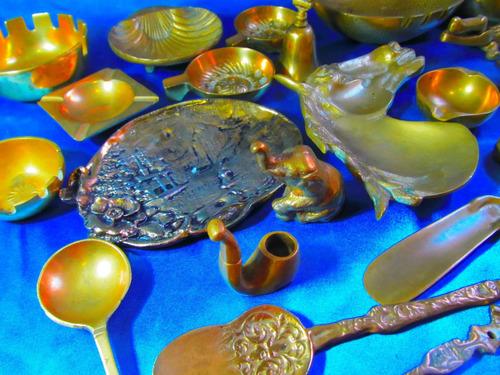 el arcon gran cenicero oval de bronce muy pesado 16cm 3523