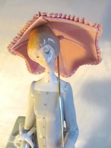 el arcon gran figura porcelana lladro mujer con sombrilla 36