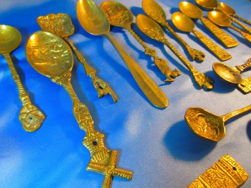 el arcon gran lote de 17 cucharas de bronce labradas 52052