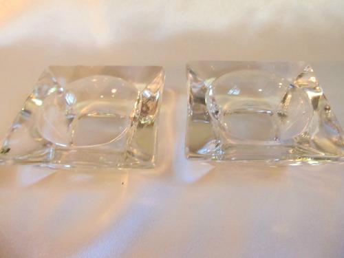 el arcon hermoso par de portavelas de cristal tallado 566