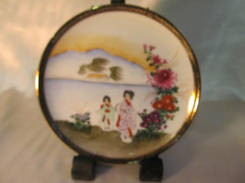 el arcon hermoso plato de porcelana tsuji oriental oro 14017