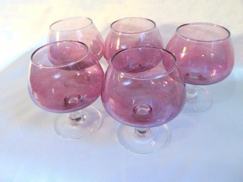 el arcon juego de 5 copas de cognac cristal color morado 568