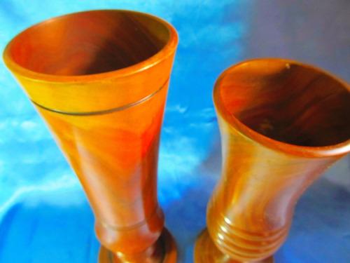 el arcon lote 2 antiguos vasos florero de madera 35cm  12056
