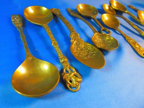 el arcon lote de 10 cucharas de bronce labradas  45071