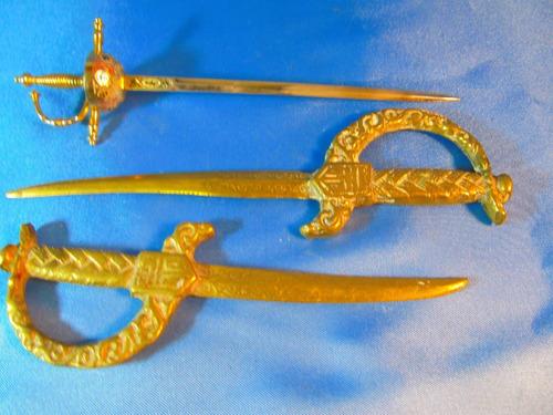 el arcon lote de 3 abrecartas bronce motivo  espada 50055