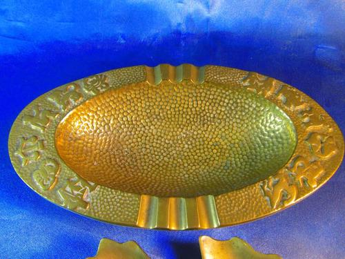 el arcon lote de 3 ceniceros de bronce labrados - hoja 37059