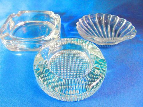 el arcon lote de 3 ceniceros de coleccion de vidrio 310