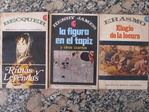 el arcon lote de 3 libros - becquer - henry james - erasmo