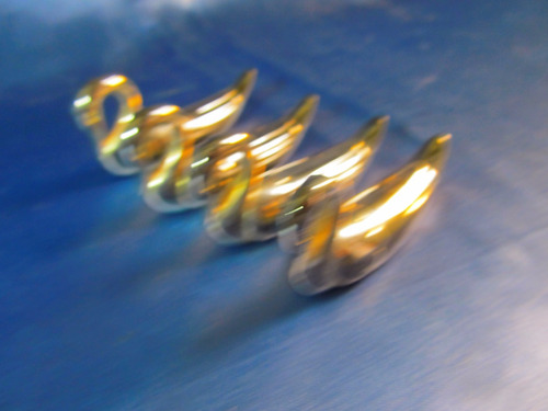 el arcon lote de 4 cisnes de metal plateado 5,5cm 39062