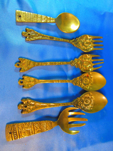 el arcon lote de 6 cucharas tenedores labrados bronce 45076