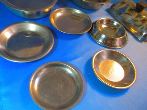 el arcon lote de 7 platos y bandejas de acero inox 49070