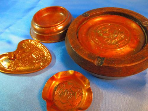 el arcon lote de cuatro ceniceros de cobre 13,5cm 43061