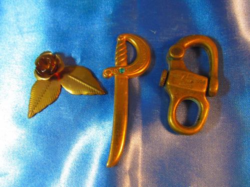 el arcon lote de piezas bronce decorativas espada flor 54522