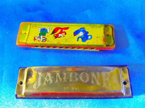 el arcon par de antiguas armonicas jambone y otra 10cm 4524