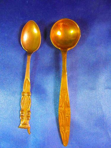el arcon par de antiguas cucharas bronce labradas 14cm 7512