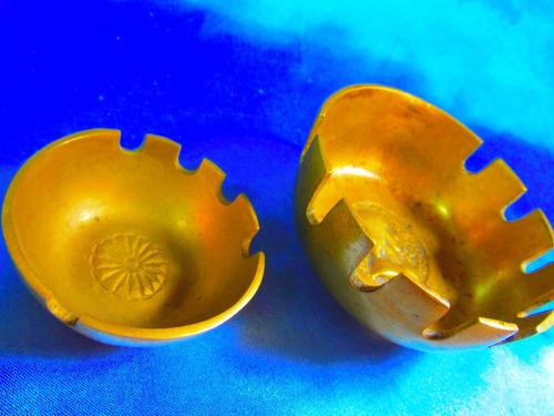 el arcon par de ceniceros bronce cincelado a mano 10 cm 7516