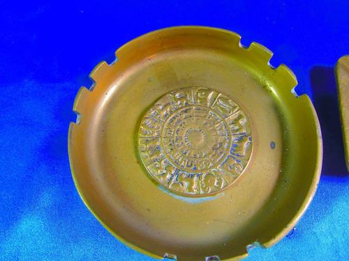 el arcon par de ceniceros bronce cincelado a mano 14 cm 7517