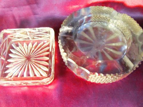 el arcon par de ceniceros de vidrio prensado tallados 12002