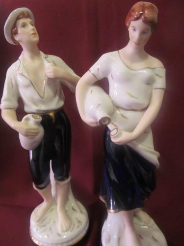 el arcon par de figuras de porcelana royal dux de 23,5 cm