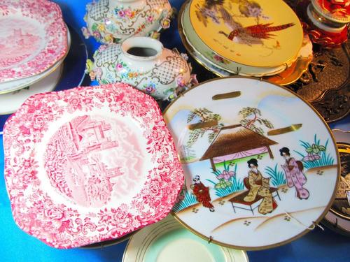el arcon par de platos  ceramica decorados liza vigos 12025