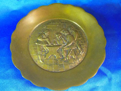 el arcon plato bronce grande pesado labrado 20,1cm 11549