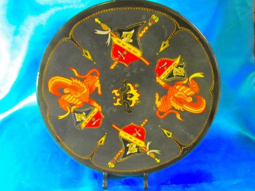 el arcon plato ceramica oriental pintado a mano 32  cm 1002