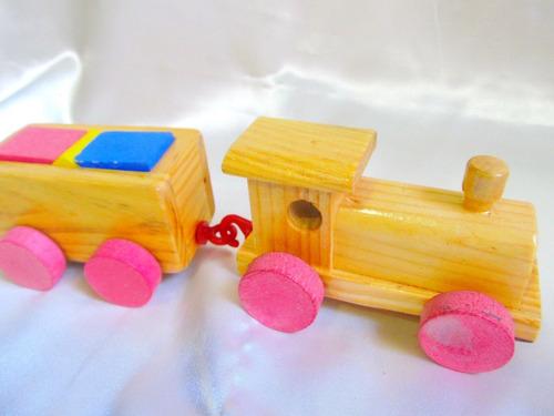 el arcon tren de madera didactico geometrico vagon 20cm 108