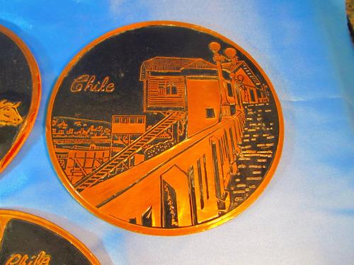 el arcon trio de platos decorativos de cobre de chile 49052