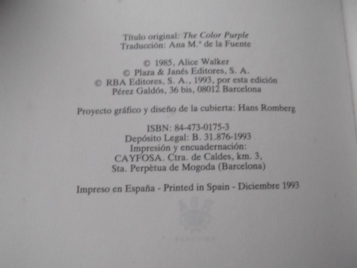 El Color Purpura Alice Walker Libro Pelicula Tapa Dura - Bs. 11.975 ...