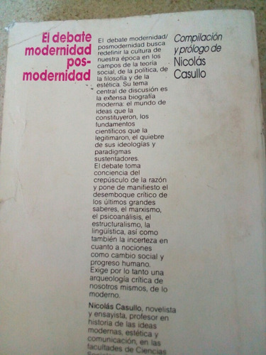 el debate modernidad posmodernidad. nicolas casullo 1989
