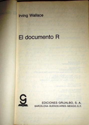 el documento r de irving wallace
