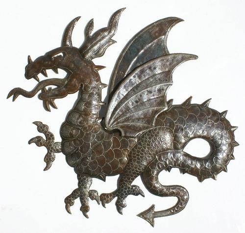 el dragon de metal decoracion mural para pared de 60cm
