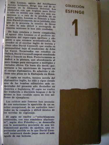 el espía no vuelve; de john le carré.  ediciones noguer.
