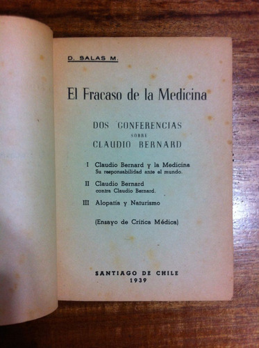 el fracaso de la medicina - d. salas m.- año 1939