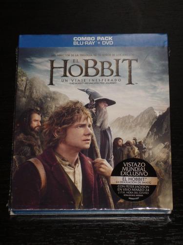 el hobbit blue -  ray + dvd combo pack
