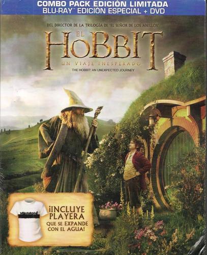 el hobbit un viaje inesperado blu-ray + dvd + playera
