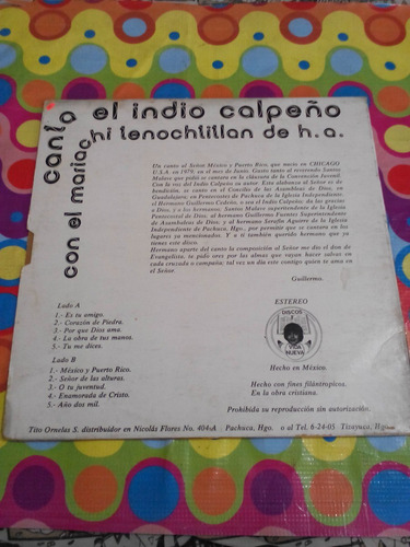 el indio calpeño lp canta méxico y puerto ricco.