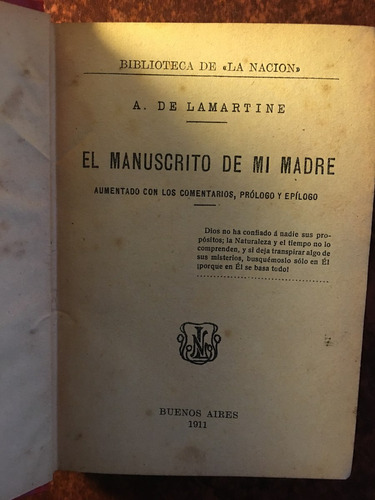 el manuscrito de mi madre, a de lamartine, bib la nación