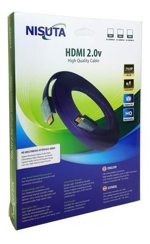 el mejor cable hdmi 4k 3 metros v2.0 plano oro 60hz