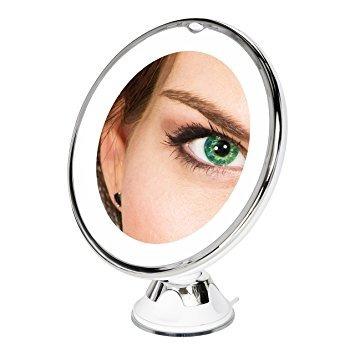El mejor espejo de maquillaje 10x de aumento con luz led for Espejo aumento con luz